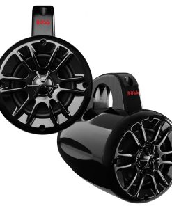 "Boss 4"" Marine 2-Way Wake Tower Speaker Bluetooth Black Pair"