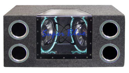 """BANDPASS BOX PYRAMID DUAL 10"""" 1000 WATT; NEON LIGHTING"""