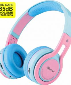 Contixo Kids 85DB Over Ear Foldable Wireless Bluetooth MicroPhone SDCard Music FMRadio Blue Pink