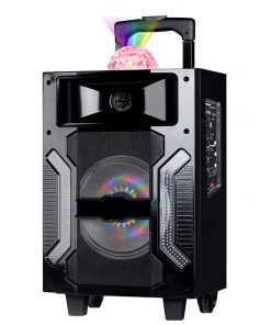 "SINGLE 10"" WOOFER W/BUILT IN RECHARGEABLE BATTERY DISCO BALL AND MIC"