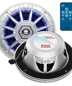 "Boss Audio Marine silver 6.5"" 2 way speaker (PAIR) multi color illumination wireless remote"