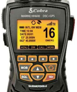 COBRA MARINE 167 CHANNEL GPS & DSC - 6 WATT FLOATING VHF W/ BT & REWIND IN GRAY
