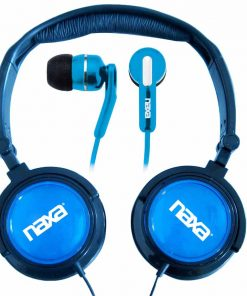 Naxa 2 in 1 Combo Super Bass Stereo Headphones and Earphones Blue