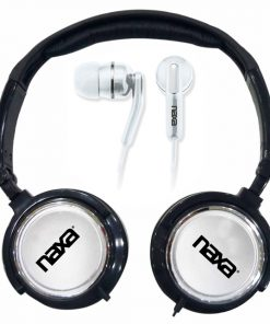Naxa 2 in 1 Combo Super Bass Stereo Headphones and Earphones Silver