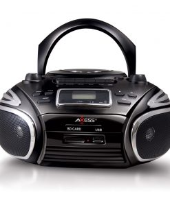 Axess Portable Boombox AM/FM Radio CD/MP3 Player USB SD Cassette Recorder Headphone Jack Black