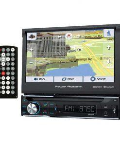 "Power Acoustik Single Din AM/FM/DVD/BT flip out 7"" with Navigation"