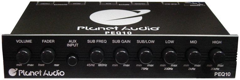 Planet 4 Band Equalizer Aux input master volume control half DIN size chassis