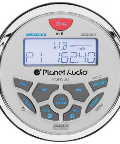 "Planet Round Marine Radio (3.5"" Diameter) Bluetooth Rear Aux Input AM/FM Rear charging USB"
