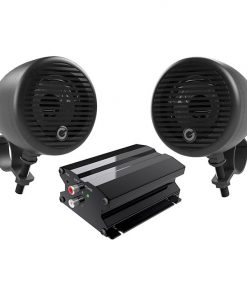 """Planet Motorcycle/ATV Sound System with Bluetooth 1 pair of 3"""" Weather Proof Black Speakers Amp"""