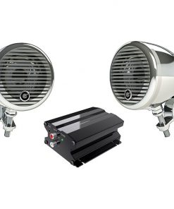 """Planet Motorcycle/ATV Sound System with Bluetooth 1 pair of 3"""" Weather Proof Chrome Speakers Amp"""
