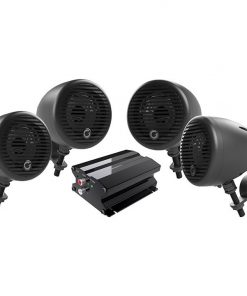 "Planet Motorcycle/ATV Sound System with Bluetooth 2 pairs of 3"" Weather Proof Black Speakers Amp"