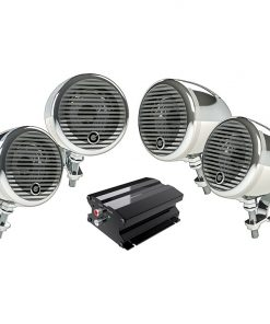 "Planet Motorcycle/ATV Sound System with Bluetooth 2 pairs of 3"" Weather Proof Chrome Speakers Amp"