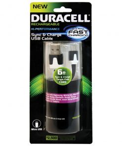 Duracell Standard USB to Micro USB Sync and Charge Cable 6' (Black)