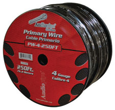 POWER WIRE AUDIOPIPE 4GA 250' BLACK