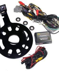Crux Rear-View & VIM Integration with Spare Tire Mount Camera with moving lines For Jeep Wrangler