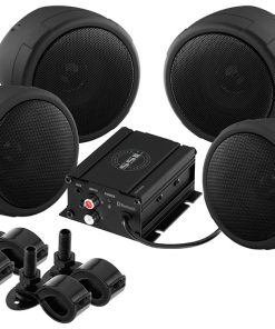 "Soundstorm Motorcycle System 3"" Black Speakers 1000W Max Bluetooth Aux Input"