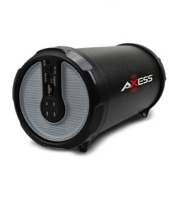 "AXESS Bluetooth In-Outdoor Hi-Fi Cylinder Loud Speaker BuiltIn 3"" Sub FM Radio SD Card USB AUXSilver"