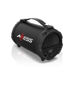 Axess Bluetooth Hi-Fi Cylinder Loud Speaker 4 Inch Sub Vibrating Disk SD Card USB AUX Inputs Black