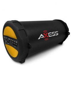 Axess Thunder Sonic Bluetooth Cylinder Loud Speaker SD Card USB Aux Inputs Yellow
