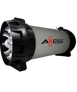 AXESS Portable Bluetooth Speaker Built-in Dancing LED Lights and Subwoofer Grey
