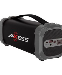 AXESS Indoor/Outdoor Bluetooth Media Speaker 3.5mm Line-In Jack Rechargeable Battery Subwoofer Grey