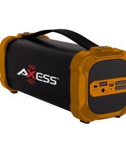 AXESS Indoor/Outdoor Bluetooth Media Speaker 3.5mm Line-In Jack Rechargeable Battery Subwoofer Orang