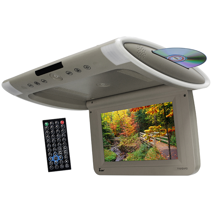 """Tview 10.1"""" Wide Screen Flip Down w/Built in Slot Type DVD Player (Gray)"""