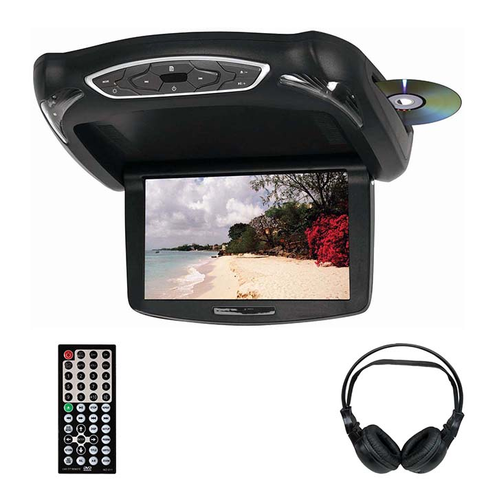 """Tview 10.2"""" TFT LCD Flip Down Monitor DVD Headphones Remote USB/SD Interchangeable Skins"""