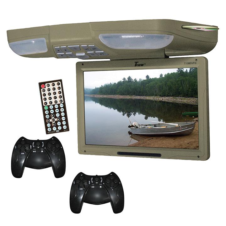 """Tview 13"""" Flip Down Monitor Built in DVD 2 joysticks USB/SD"""
