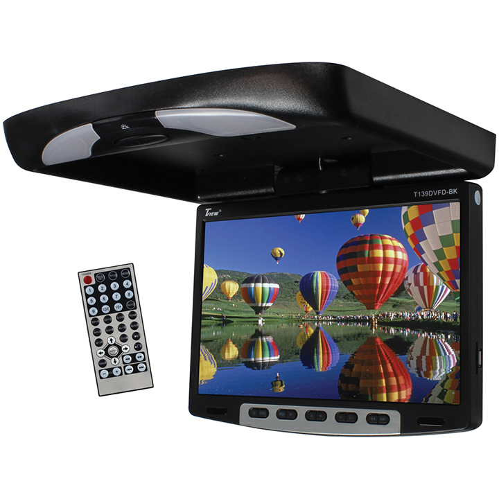 Tview 13'' Flipdown Wide Screen W/Built in DVD Player-Black