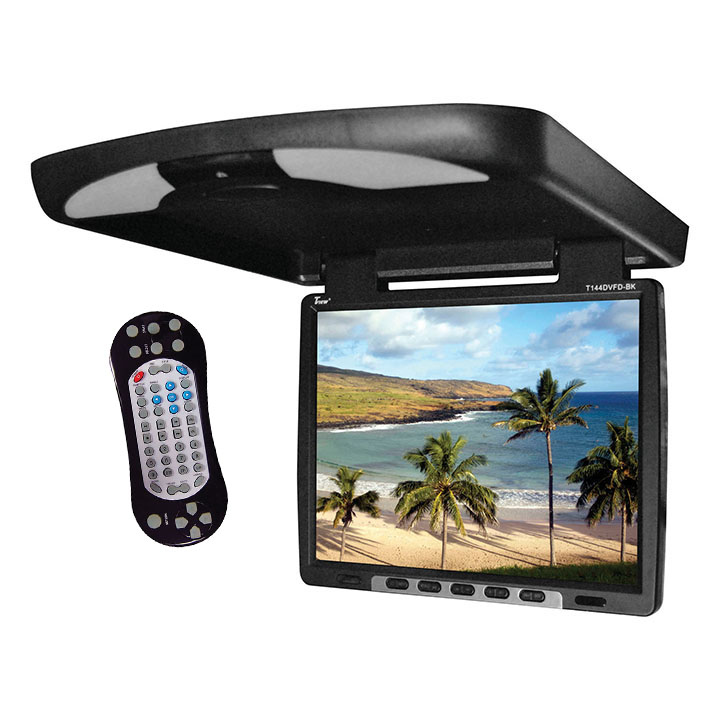 "Tview 14"" Flip Down Monitor with built in DVD IR/FM trans Black"