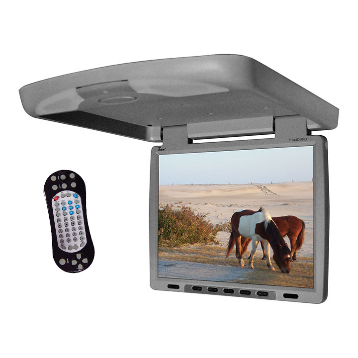 """Tview 14"""" Flip Down Monitor with built in DVD IR/FM trans Gray"""