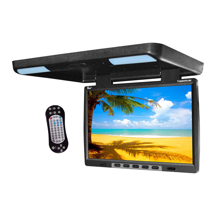 """Tview 15.4"""" Flip Down Monitor with built in DVD IR/FM trans Black"""