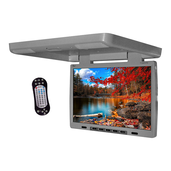 """Tview 15.4"""" Flip Down Monitor with built in DVD IR/FM trans Gray"""