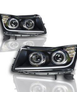 Winjet 11-15 Chevy Cruze DRL Projector Head Light - Black / Clear